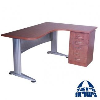 שולחן ארגונומי רגל מתכת כולל ארגז מגירות