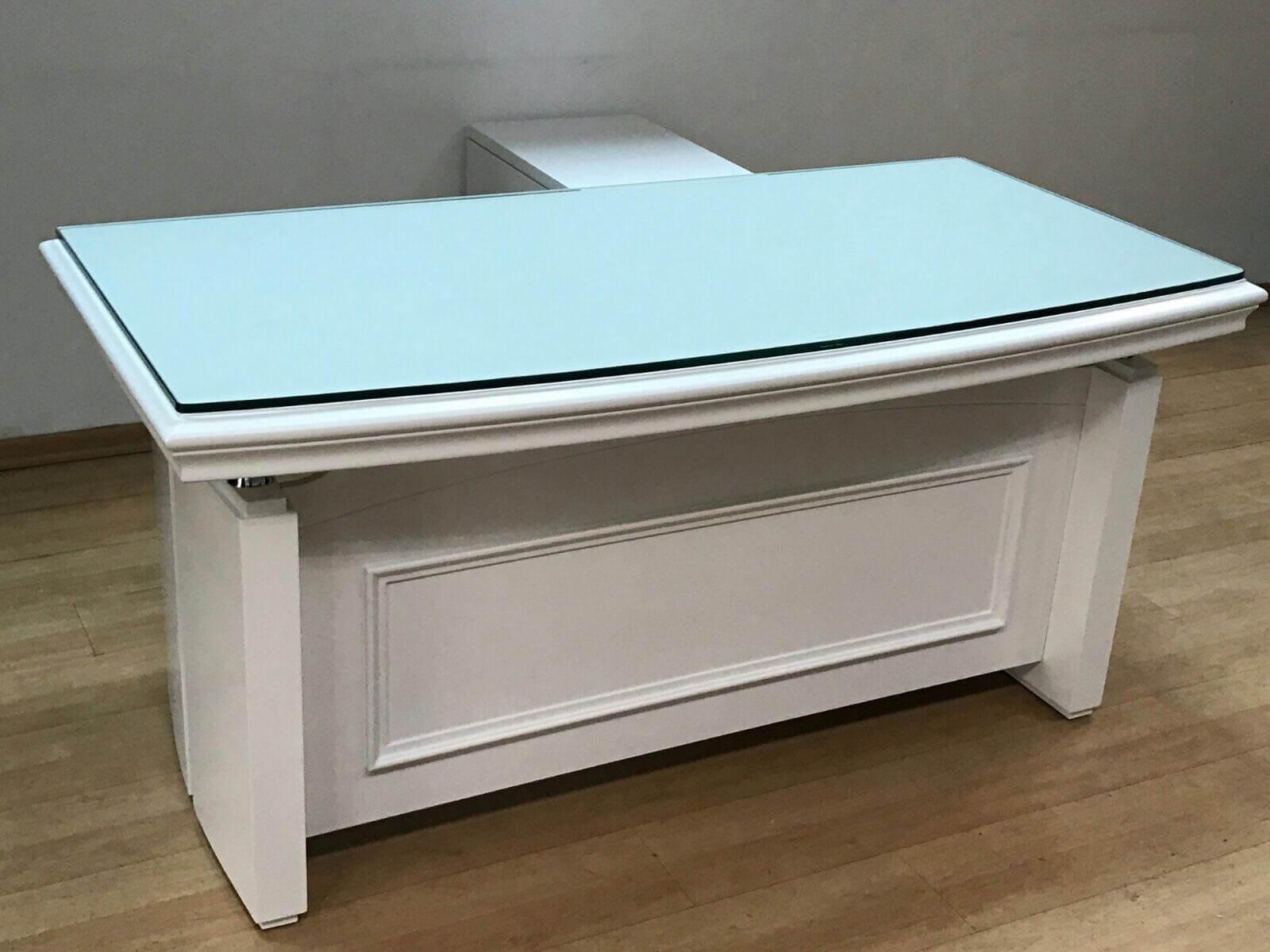 שולחן מנהלים דגם A-06 לבן זכוכית