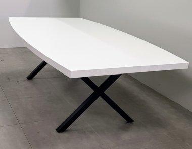 שולחן ישיבות 240 אובלי לבן רגל איקס שחור