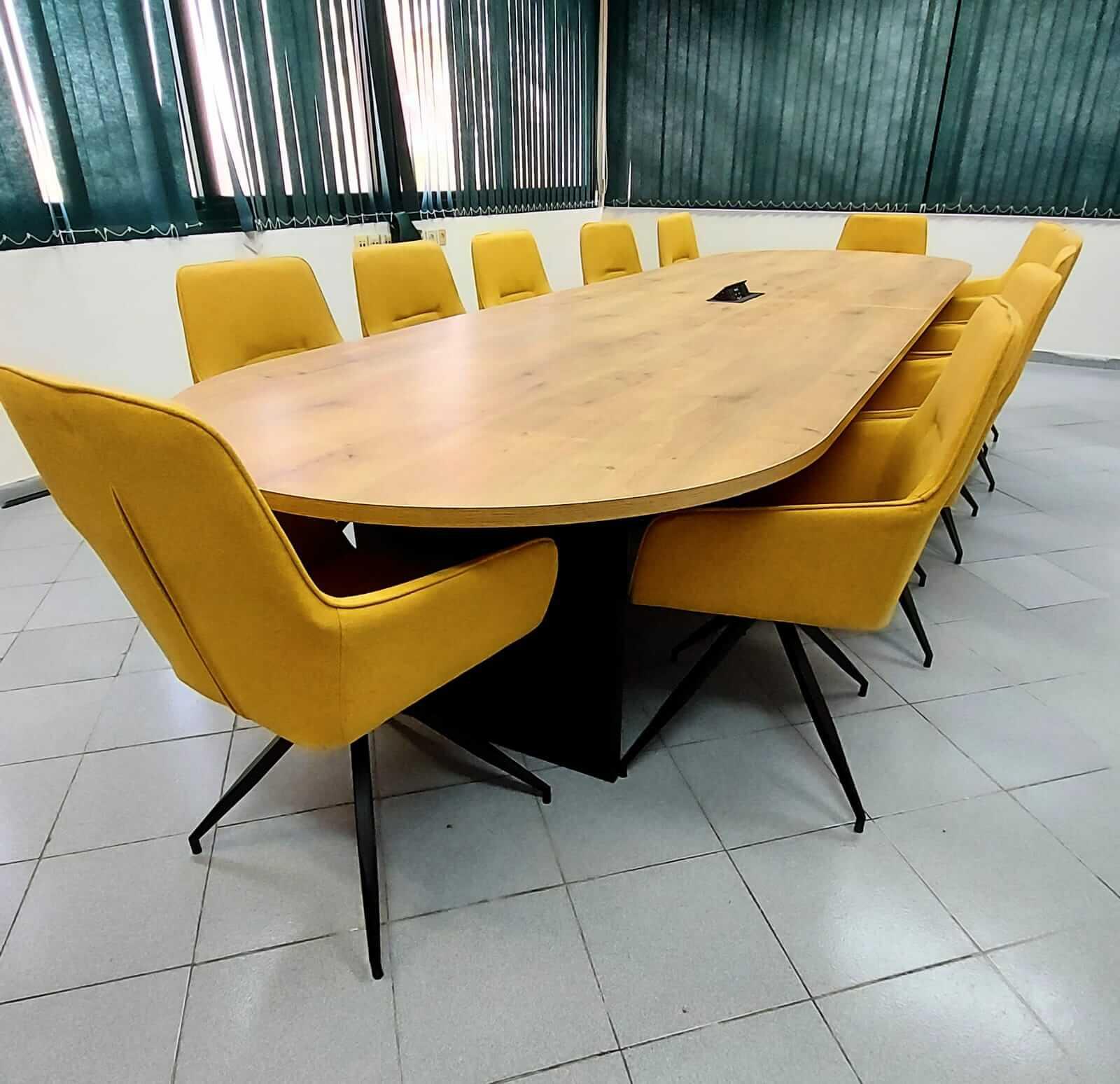 שולחן ישיבות אליפסה במידה 400X120 אלון שחור